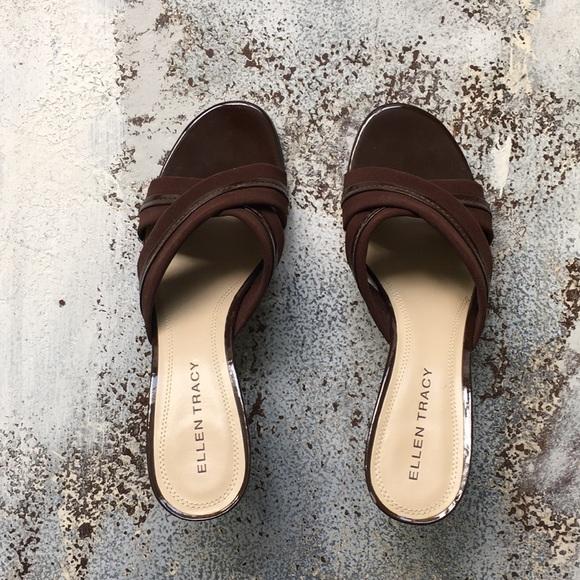 Ellen Tracy Shoes - Ellen Tracy Chocolate Open Toe sandal